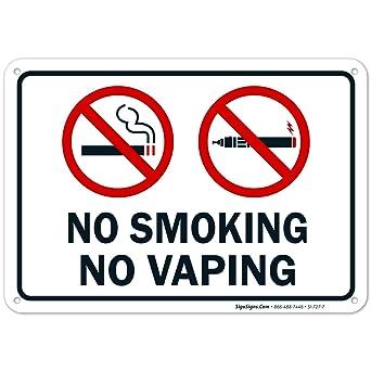 Amazon.com: Señal de no fumar sin vapor, 10 x 7 libre de ...