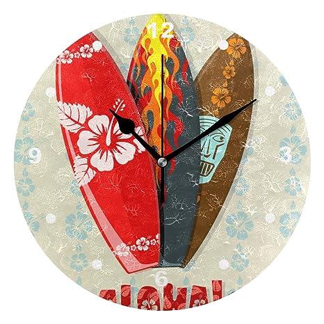SUNOP Reloj para niños con impresión de Aceite, 1 Hawaii Aloha Tablas de Surf,