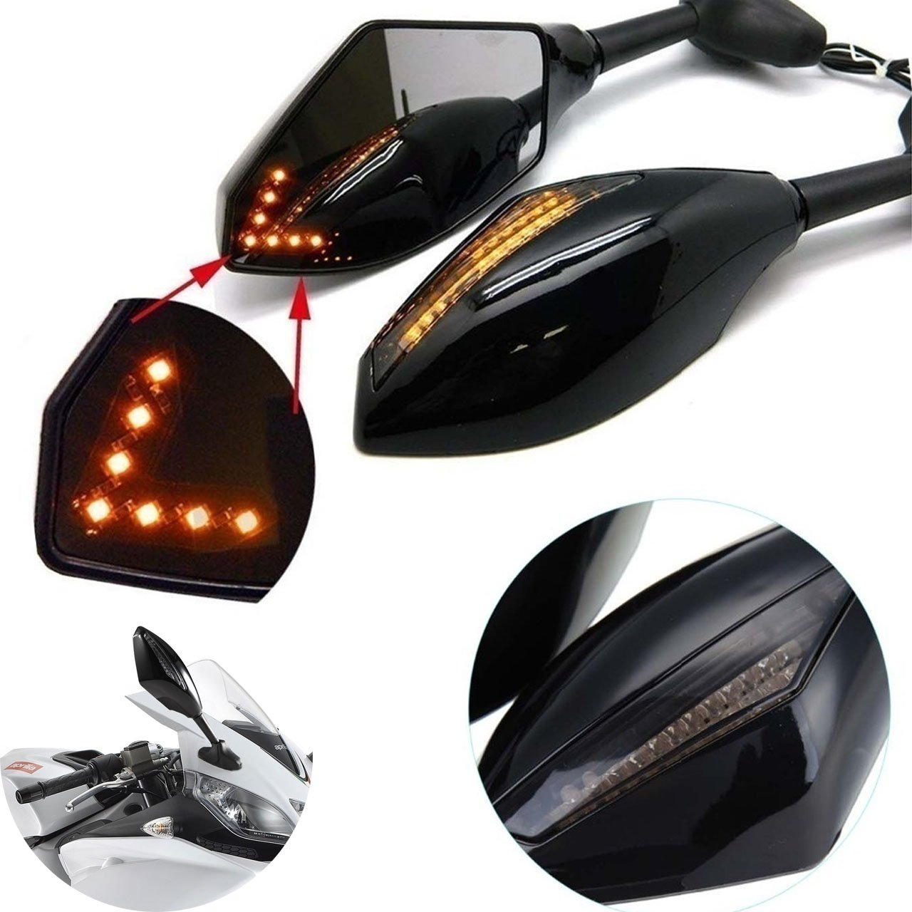KaTur Motorcycle Led Turn Signal Integrated Indicator Front & Rear Rearview Mirrors for Racing Sport Bike (Smooth Black+Smoke Lens)