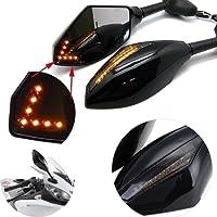 Rétroviseurs avant et arrière avec voyant LED clignotant orange intégré pour moto sportive (noir lisse + lentille fumée) - KaTur