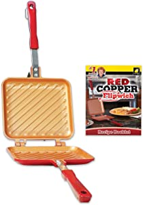 Red Copper Double-Coated Flipwich Non-Stick Grilled Sandwich and Panini Maker by BulbHead