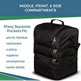 Meal Prep Lunch Bag for Women & Men. Large 744oz Lunch Box for Fitness, Gym, Work, School. Insulated Warm & Cold Compartments, Lots of Pockets. Waterproof Oxford Fabric. FDA Approved for Food Safety
