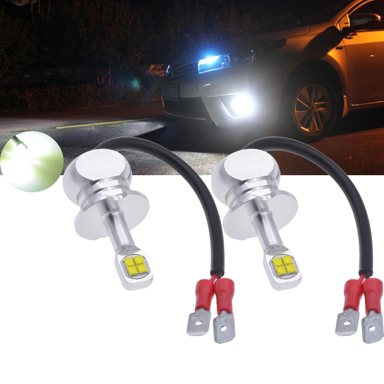 TUINCYN Lampadine LED CREE 8 SMD Canbus super luminose da 1500 lumen, adatte per H1, senza errori, utilizzate per luci di marcia diurne, impermeabili, bianco 6000 K (confezione da 2)