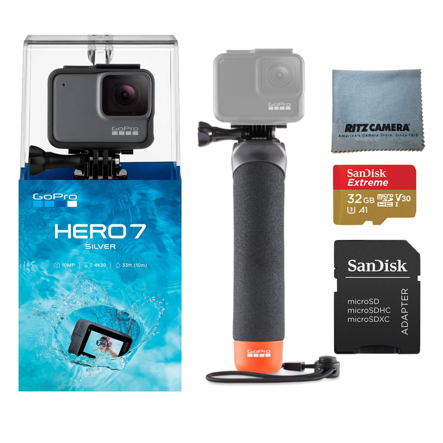 GoPro Hero7 Silver Bundle with GoPro Float Handle, Sandisk U3 32GB Memory Card and Ritz camera Cleaning Cloth by Ritz Camera
