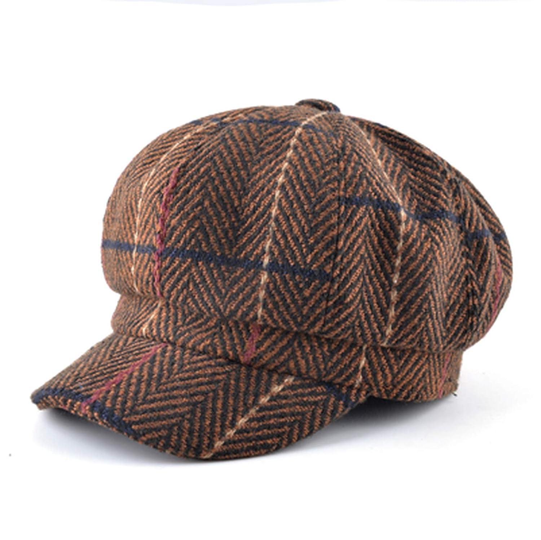 Womens Newsboy Cap Ladies Autumn Winter Octagonal Hats Men Knitted Plaid Vintage Peaked Unisex Berets