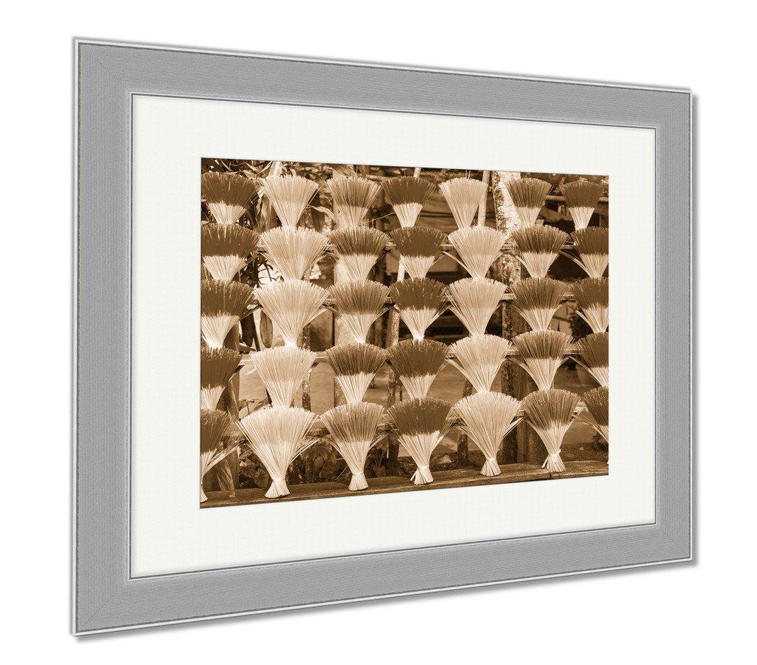 Ashley Framed Prints An Arrangement Of Incense Sticks In Hue Vietnam, Wall Art Home Decoration, Sepia, 34x40 (frame size), Silver Frame, AG6571570