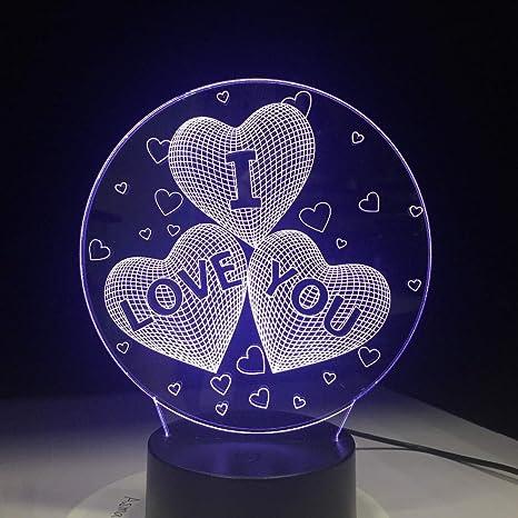 wangZJ Lámpara de mesa 3d / 7 Cambio de color/Lámpara de ...