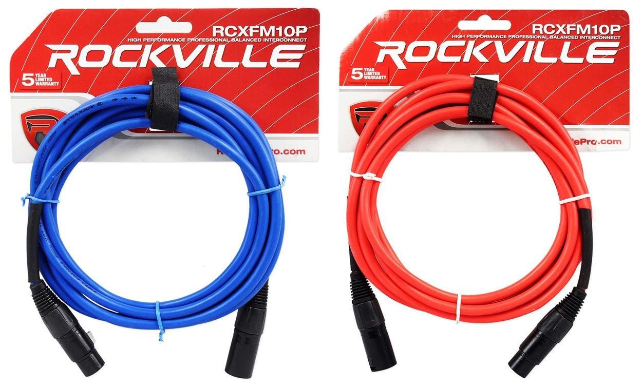 2ロックビル10 'メスtoオスREAN XLRマイクケーブル100 %銅線(赤と青) B01N8OLEQT