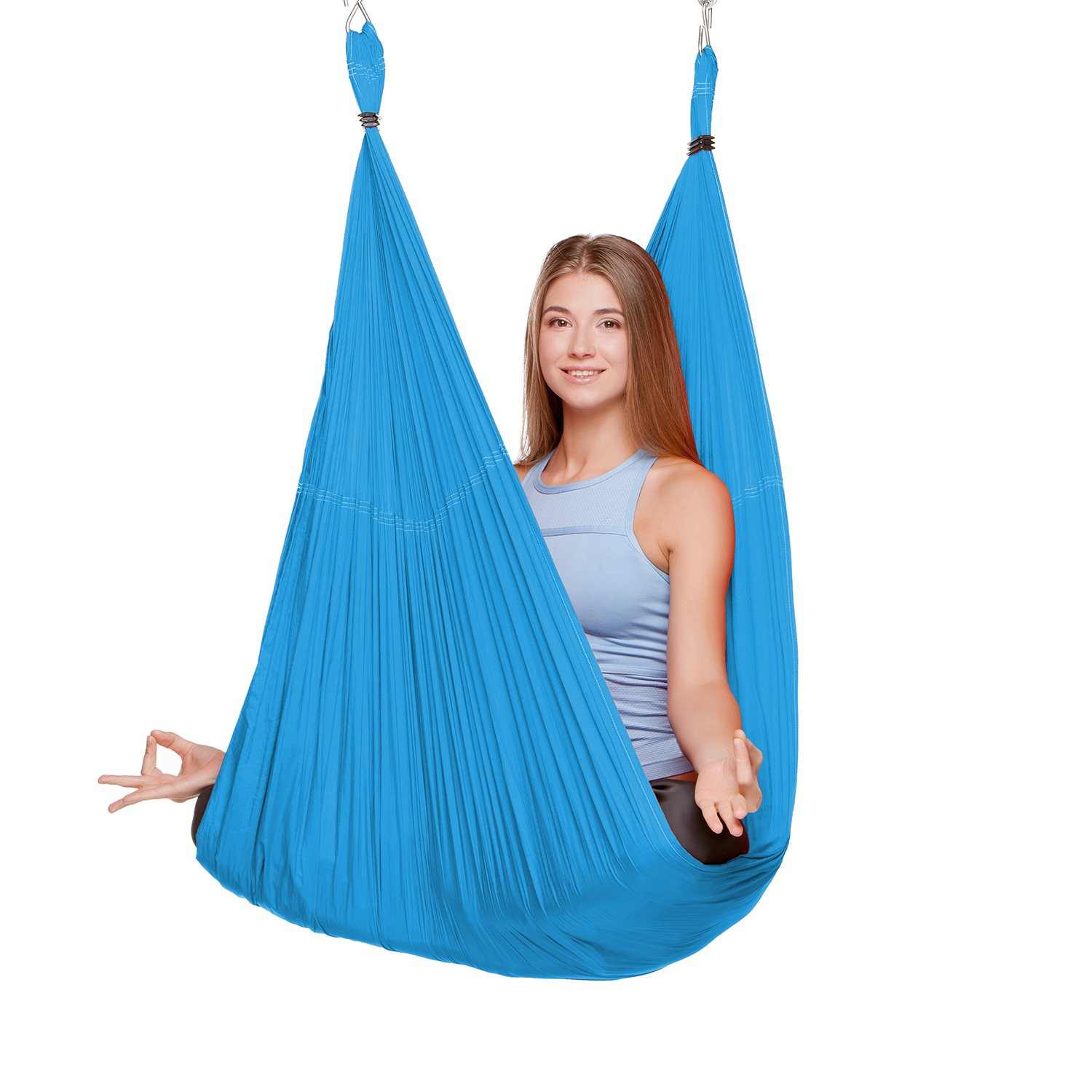 EUROSPORTS 2000 lbs Capacity High Elastic Large Size(L:197in W:110in) Silk Fabric Aerial Flying Yoga Swing/Hammock/Trapeze for Air Yoga Inversion Exercises(5m x 2.8m)