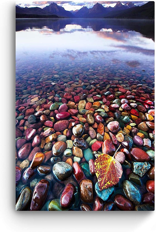 "Glass Wall Art Startonight - Acrylic Decor Colored Stones in Water, Landscape Artwork 24"" x 36"""