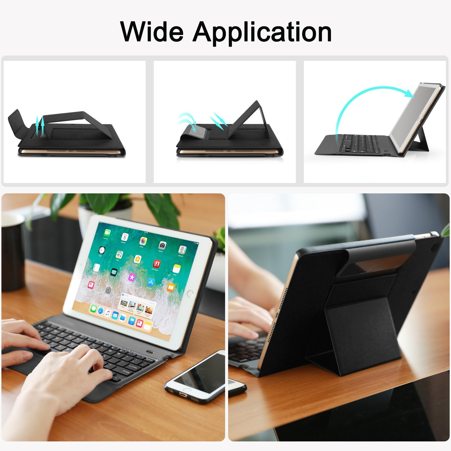 OMOTON New iPad 9.7 2018 & iPad 9.7 2017 Keyboard Case, [Upgraded Version] Ultra-Thin Bluetooth Keyboard Portfolio Case with Stand, PU Leather, and Auto Sleep/Wake for Apple iPad 9.7 2017 2018 Tablet by OMOTON (Image #7)