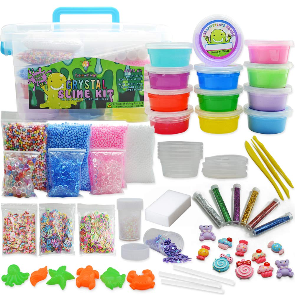Jumbo DIY Clear and Fluffy Slime Kit - Supplies The Ultimate Stuff for Girls and Boys Making Slime. Add Ins of Crunchy Fishbowl Beads, Glitter, Foam Balls, Fruit Slices, Charms and Jelly Cubes!
