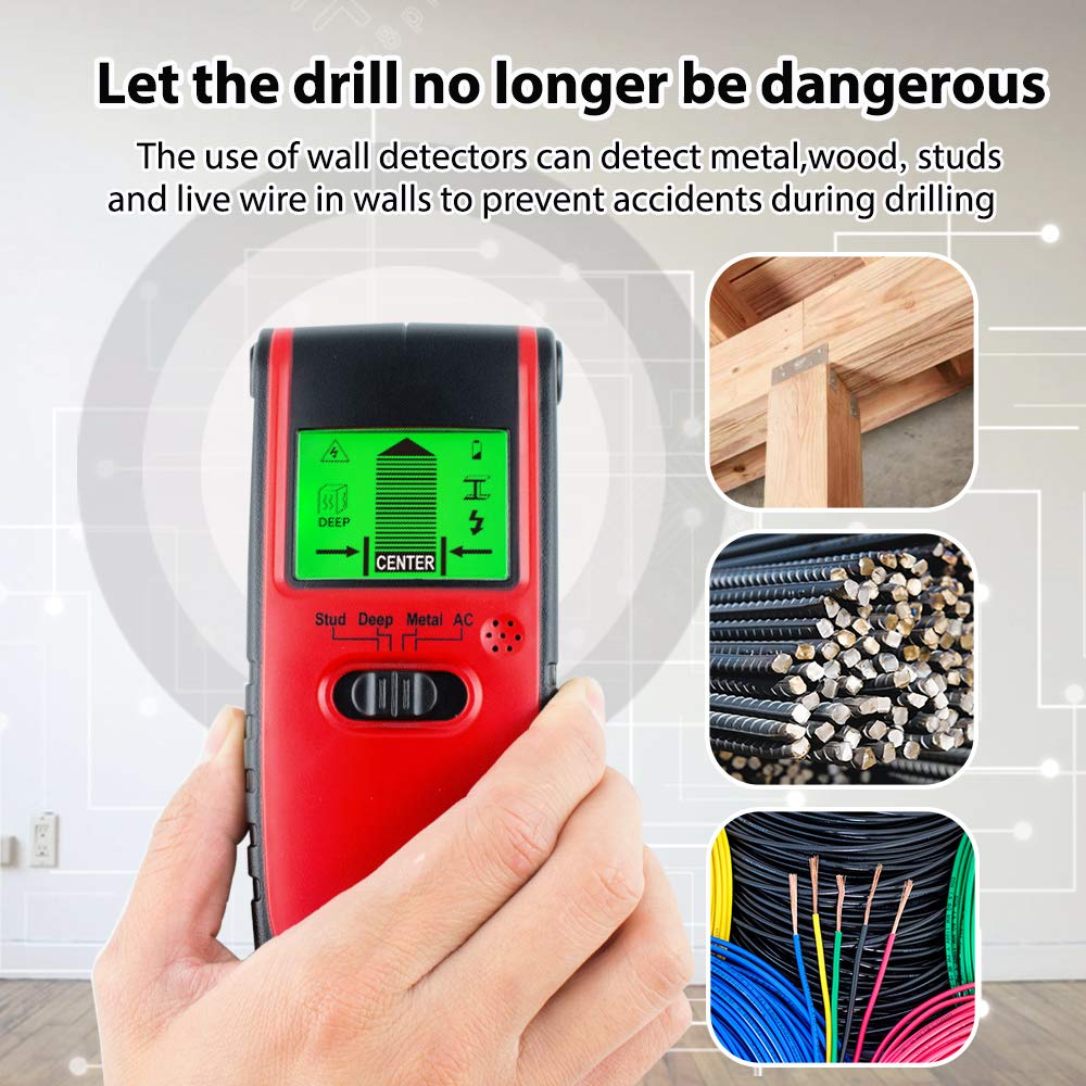 MAOZUA Stud Finder Sensor Wall Scanner 4 in 1 Multi Function Electronic Stud Sensor Finders Wall Detector Center Finding with LCD Display Sound Warning for ...