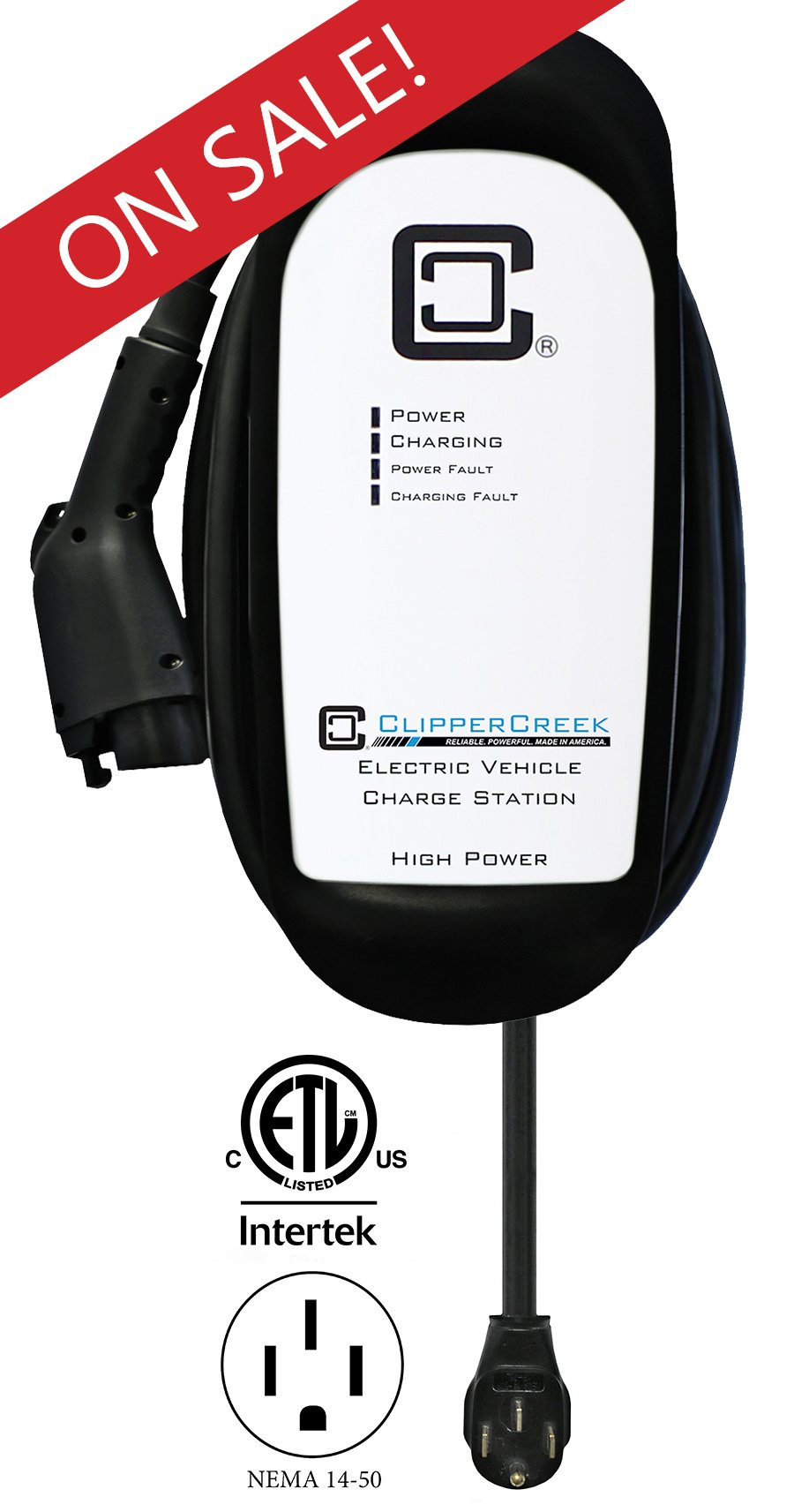 ClipperCreek HCS-50P, Plug-in 240V, 40A, EV Charging Station, 25 ft charging cable, NEMA 14-50, SAFETY CERTIFIED, Made in America. SAVE $200 NOW!