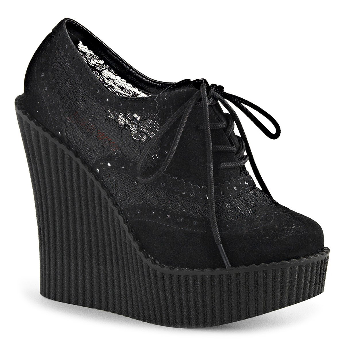 Womens All Black Wedges Lace Up Shoes Platform Creepers Shoes Vegan Suede 5/¼ in