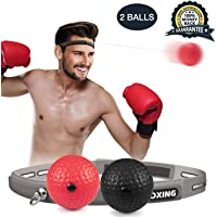 VIPMOON Boxing Reflex Ball, 2 Difficulty Level Boxing Ball with Headband, Softer Than Tennis Ball, Perfect for Reaction, Agility, Punching Speed, Fight Skill and Hand Eye Coordination Training