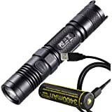 Nitecore P12 1000 Lumens Compact Tactical LED Flashlight PLUS Nitecore 3400mAh Rechargeable 18650 Battery with Built-In Micro-USB Port & LumenTac USB Charge Cable