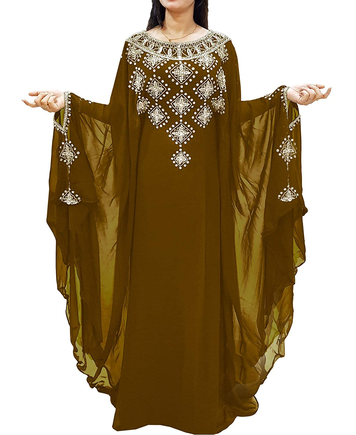 Brown African Boutique Long Sleeve Plus Size Beaded Mgoldccan Kaftans African Dresses for Women