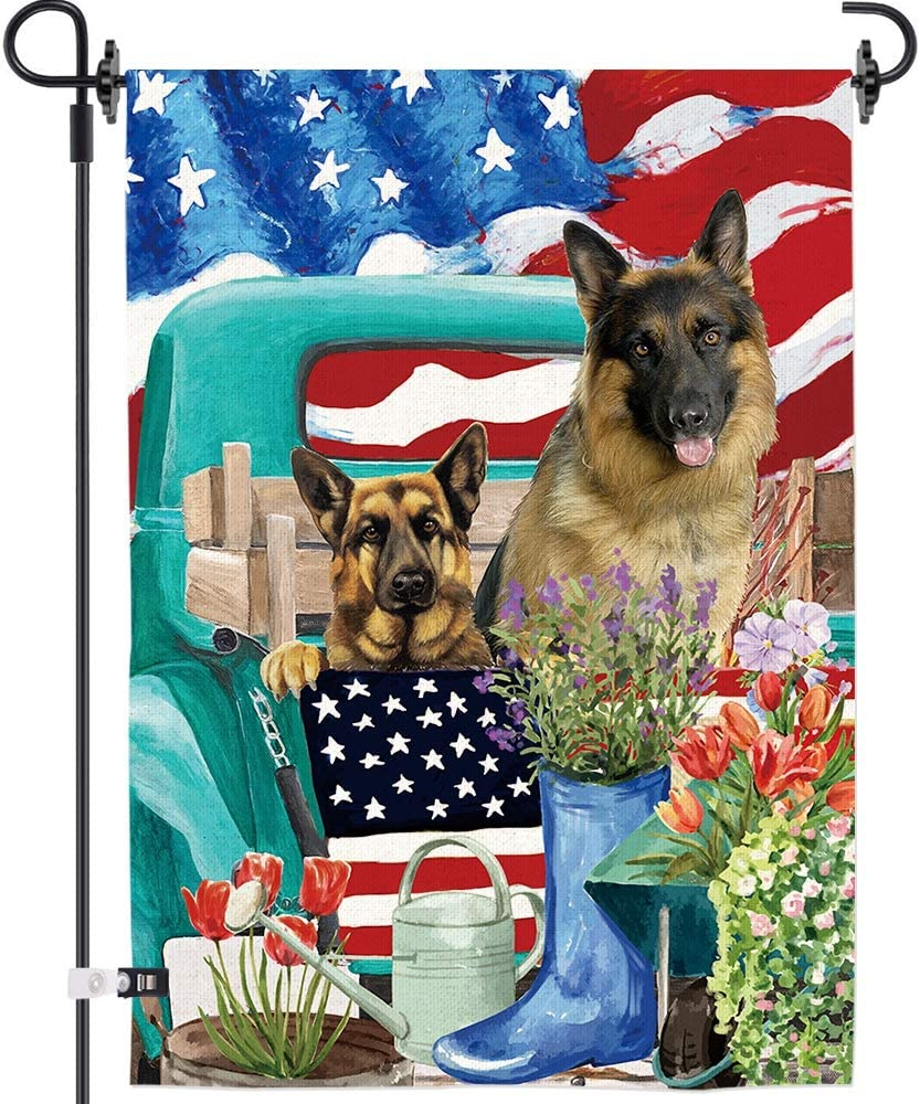 """AOKDEER Double Side German Shepherd Home Garden Flags with Rubber Stopper and Clip, Weather Resistant Heavy Duty Seasonal Outdoor Flag, 12""""x18 Garden Yard Decoration"""