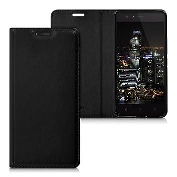 kwmobile Funda para bq Aquaris M5 - Carcasa para móvil de Cuero sintético - Case Plegable en Negro
