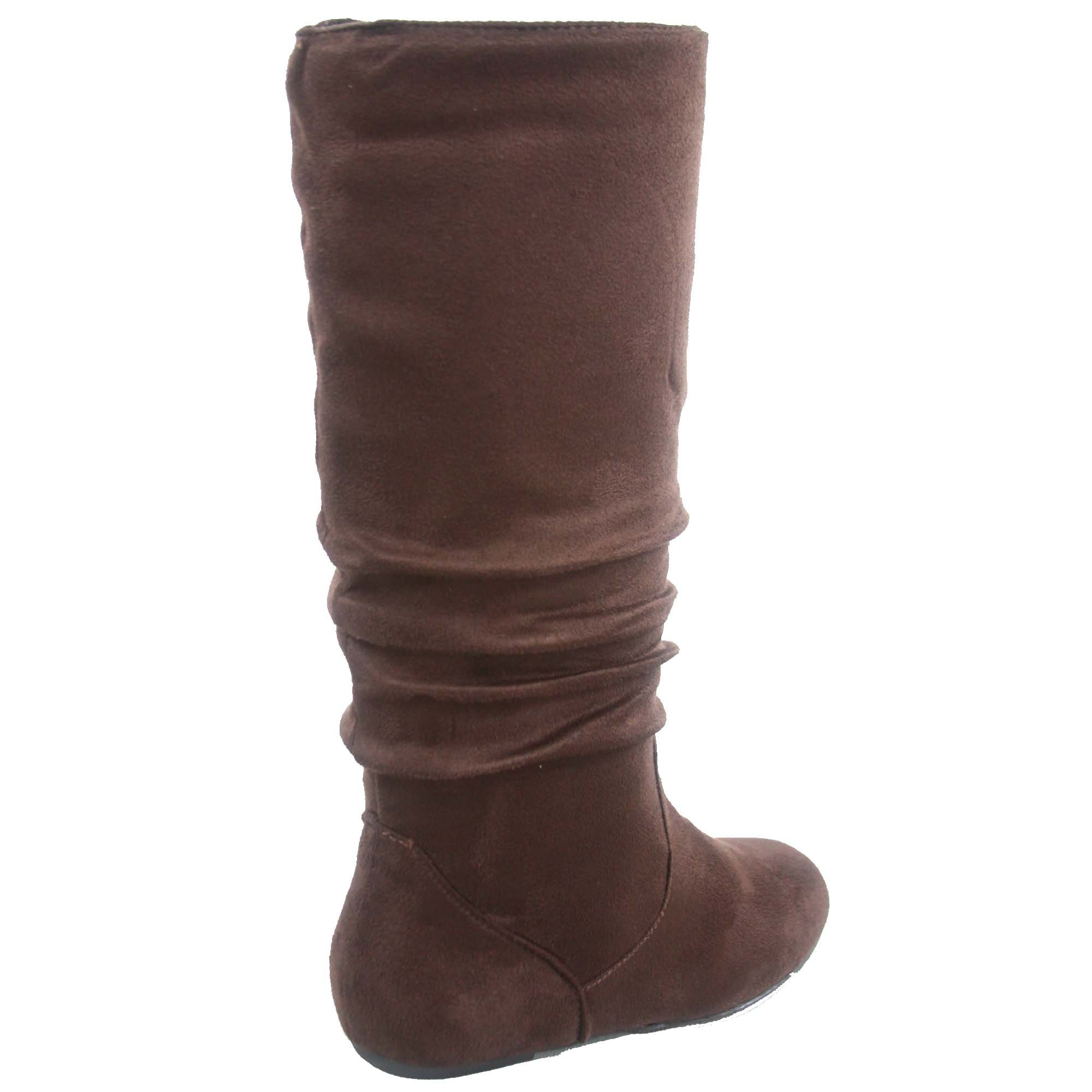 Top Moda Data-1 Women's Shoes Cute & Comfort Round Toe Flat Heel Slouchy Mid Calf Boot (8.5, Brown) by Top Moda (Image #2)