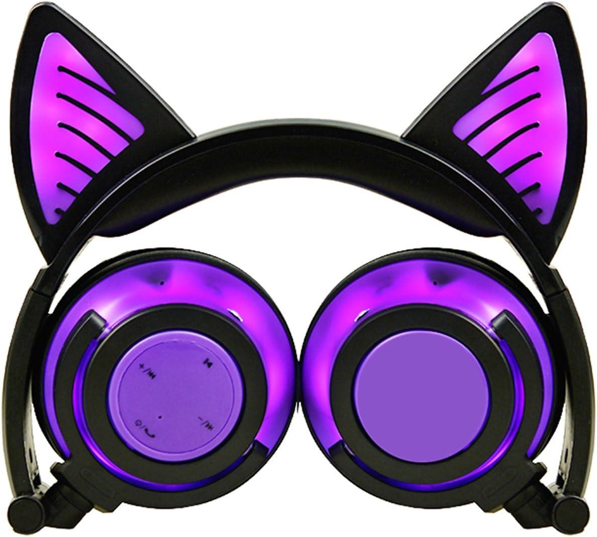 Limson Auriculares Bluetooth, Auriculares Plegable Recargables recargables de Orejas de gato Auriculares Parpadeantes de luz Intermitente de Cuerpo Entero para Niñas y Niños (Morado, 3.5 mm)