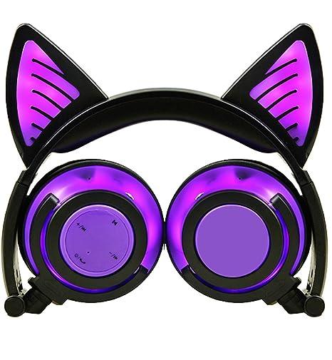 Limson Auriculares Bluetooth, Auriculares Plegable Recargables recargables de Orejas de gato Auriculares Parpadeantes de luz