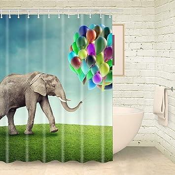 Foog Elefant Mit Ballon Auf Grun Field Duschvorhange Elefant
