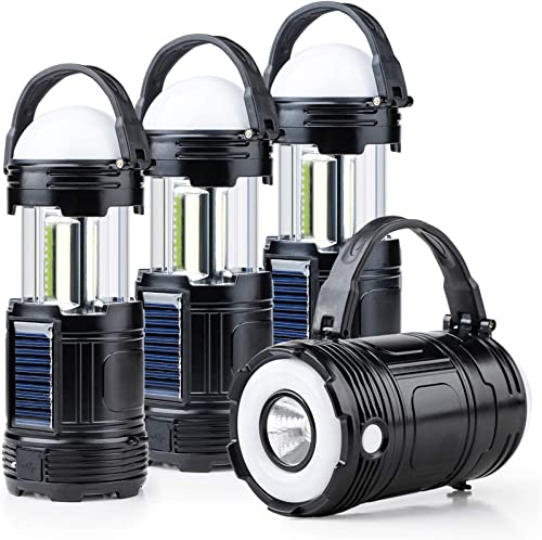 4 Pack Black 5 in 1 Solar USB Rechargeable 3 AA Power Brightest COB LED Camping Lantern with S Charging for Device, Waterproof Collapsible Emergency Flashlight LED Light