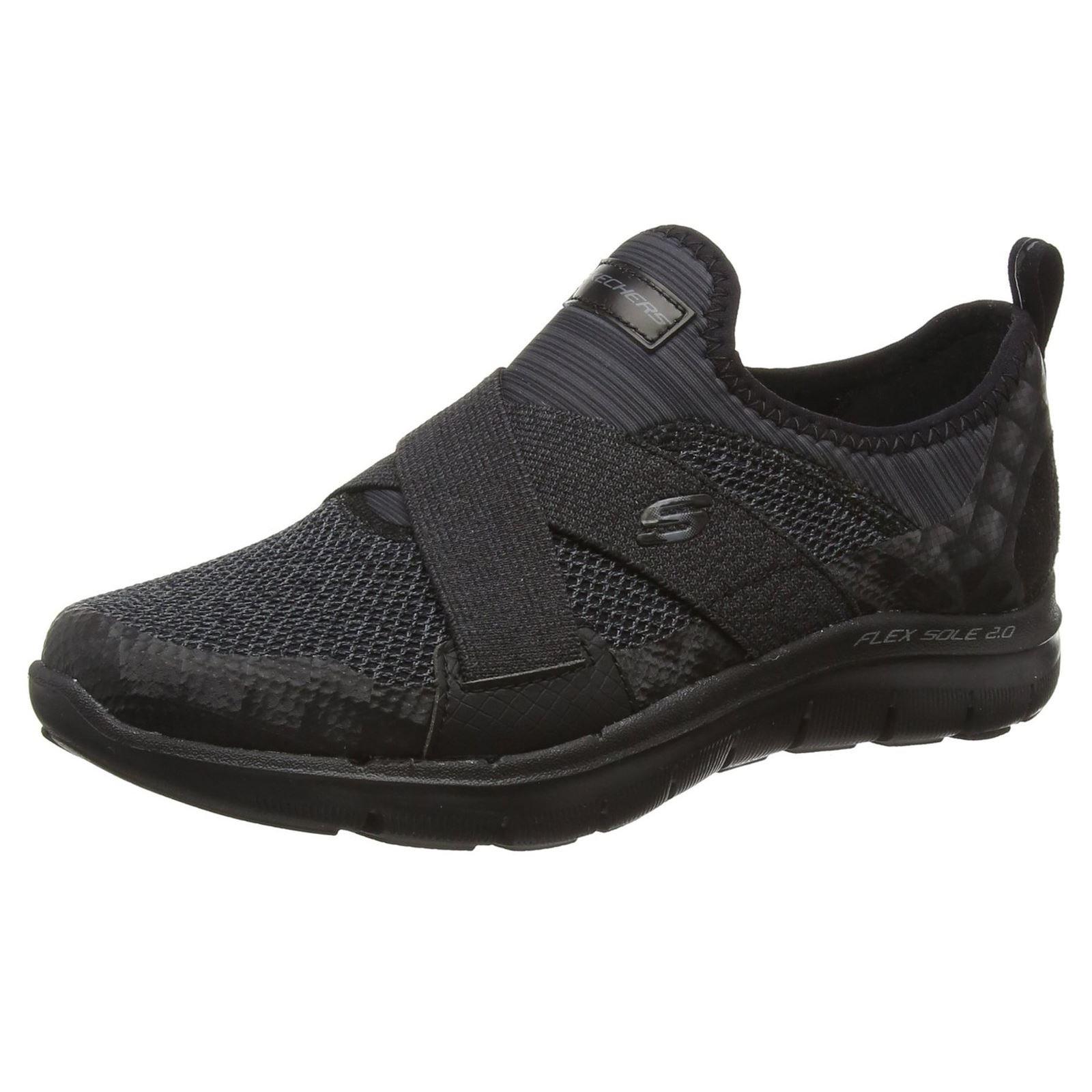 Skechers Flex Appeal 2.0 New Image Womens Slip On Sneakers Black 10