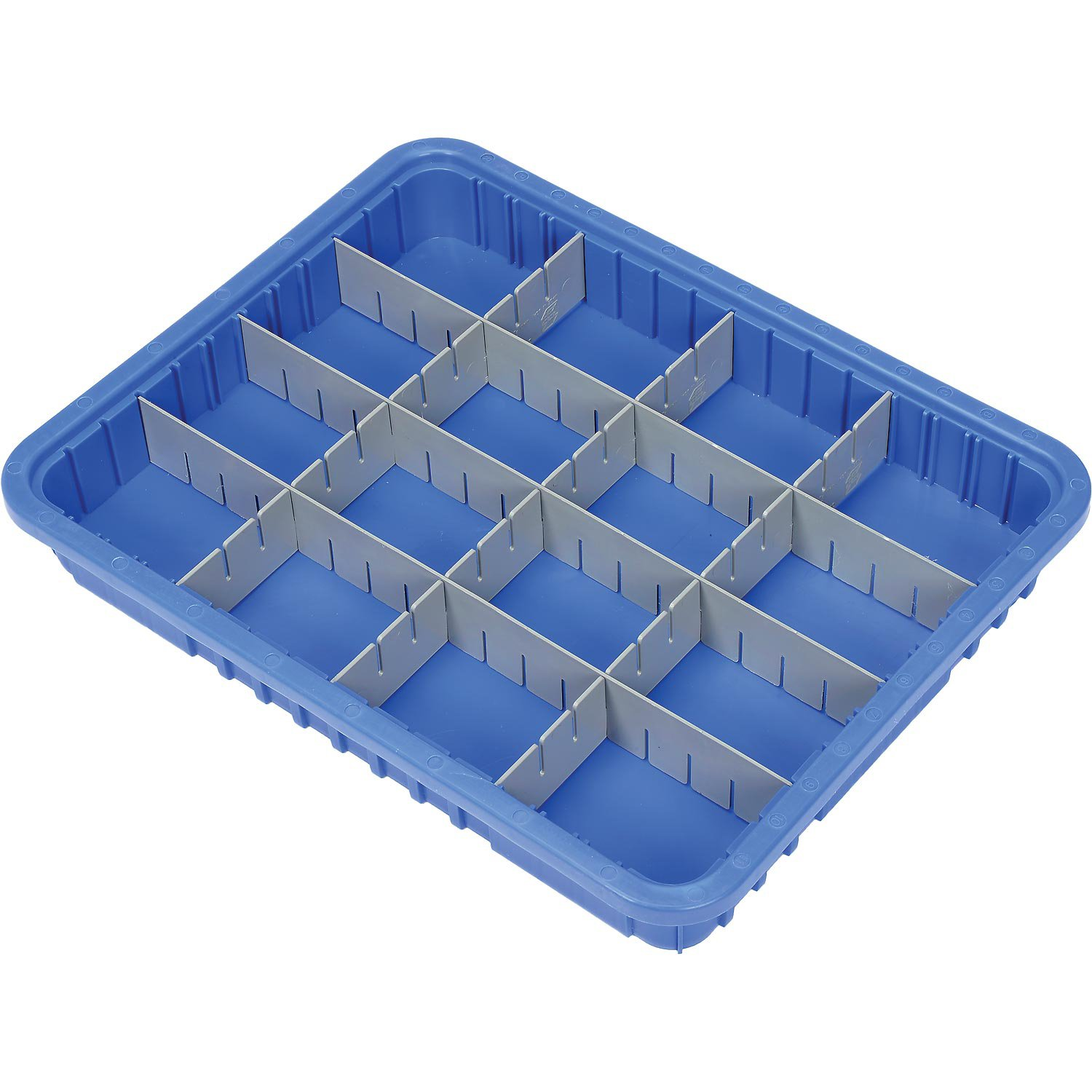 Plastic Dividable Grid Container, 22-1/2''L x 17-1/2''W x 3''H, Blue - Lot of 6
