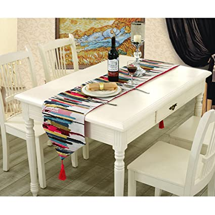 BOBIBI Fashion Modern Table Runner Colorful Nylon Runner Table Cloth With  Tassels Cutwork Embroidered Table Runner
