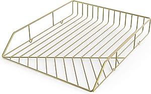 U Brands Metal Letter Tray, Desktop Accessory, Vena Collection, Gold (3233U03-12)