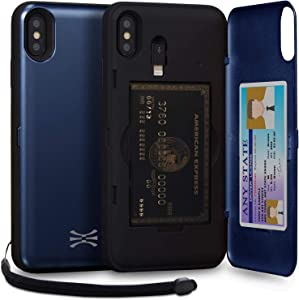 TORU CX PRO Compatible with iPhone Xs Max Wallet Case - Protective Dual Layer with Hidden Card Holder, ID Slot Hard Cover, Strap, Mirror & Lightning Adapter - Navy Blue
