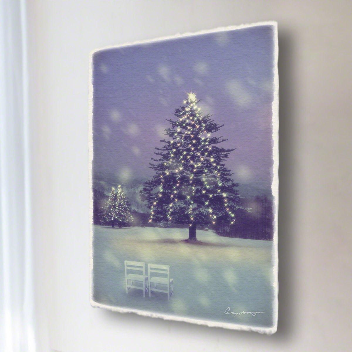 和紙 アートパネル 「雪原のイルミネーションのモミの木と白い椅子」 (54x36cm) 絵 絵画 壁掛け 壁飾り インテリア アート B07B2GPR1T 15.アートパネル(長辺54cm) 29800円|雪原のイルミネーションのモミの木と白い椅子 雪原のイルミネーションのモミの木と白い椅子 15.アートパネル(長辺54cm) 29800円