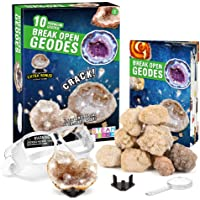 XXTOYS Break Open 10 Premium Geodes – Includes Goggles, Detailed Learning Guide & 2 Display Stands - Great Stem Science…