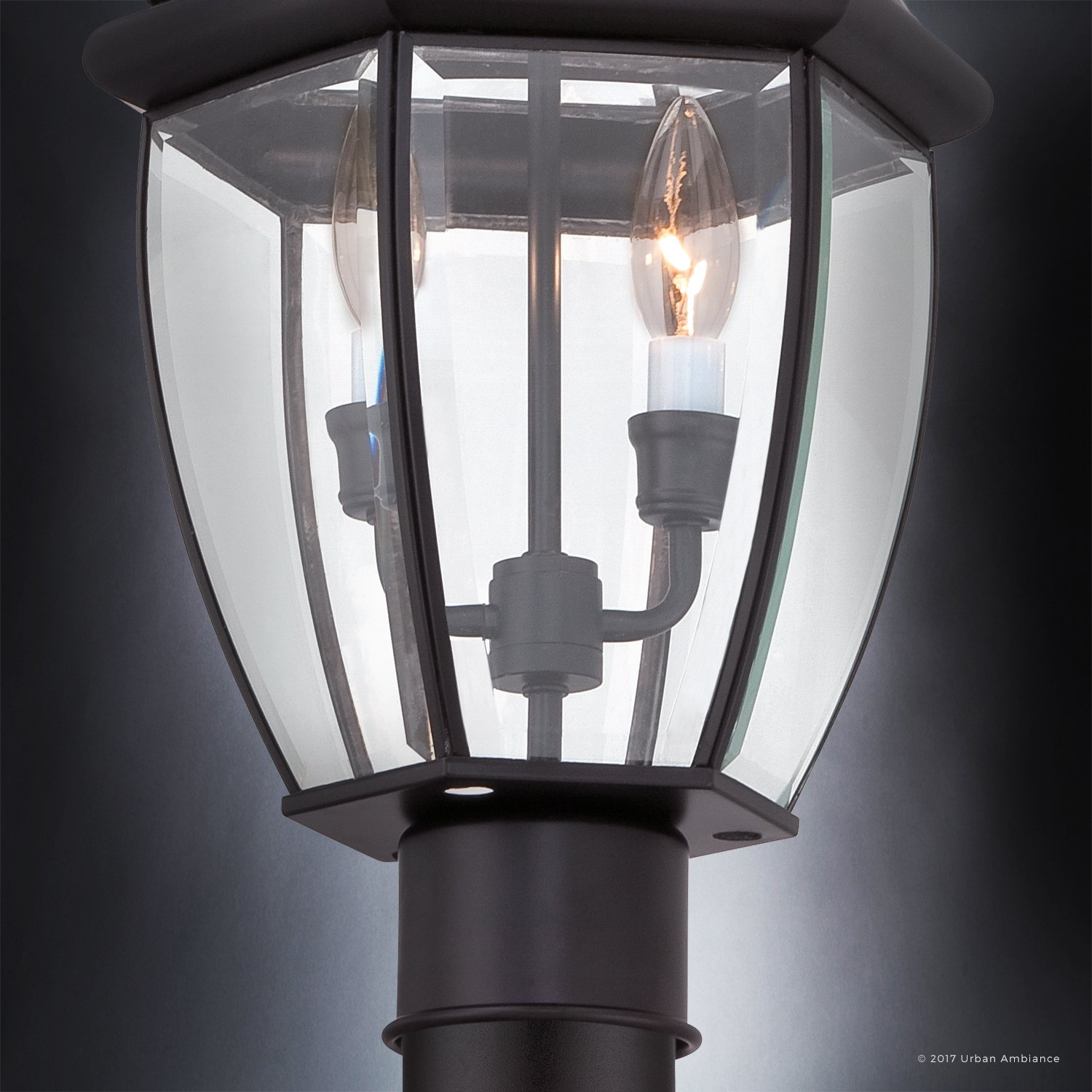 Luxury Colonial Outdoor Post Light, Large Size: 21''H x 11''W, with Tudor Style Elements, Versatile Design, High-End Black Silk Finish and Beveled Glass, UQL1148 by Urban Ambiance by Urban Ambiance (Image #6)