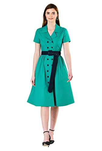 1950s Housewife Dress | 50s Day Dresses eShakti Womens Contrast Button poplin Belted Shirtdress $69.95 AT vintagedancer.com