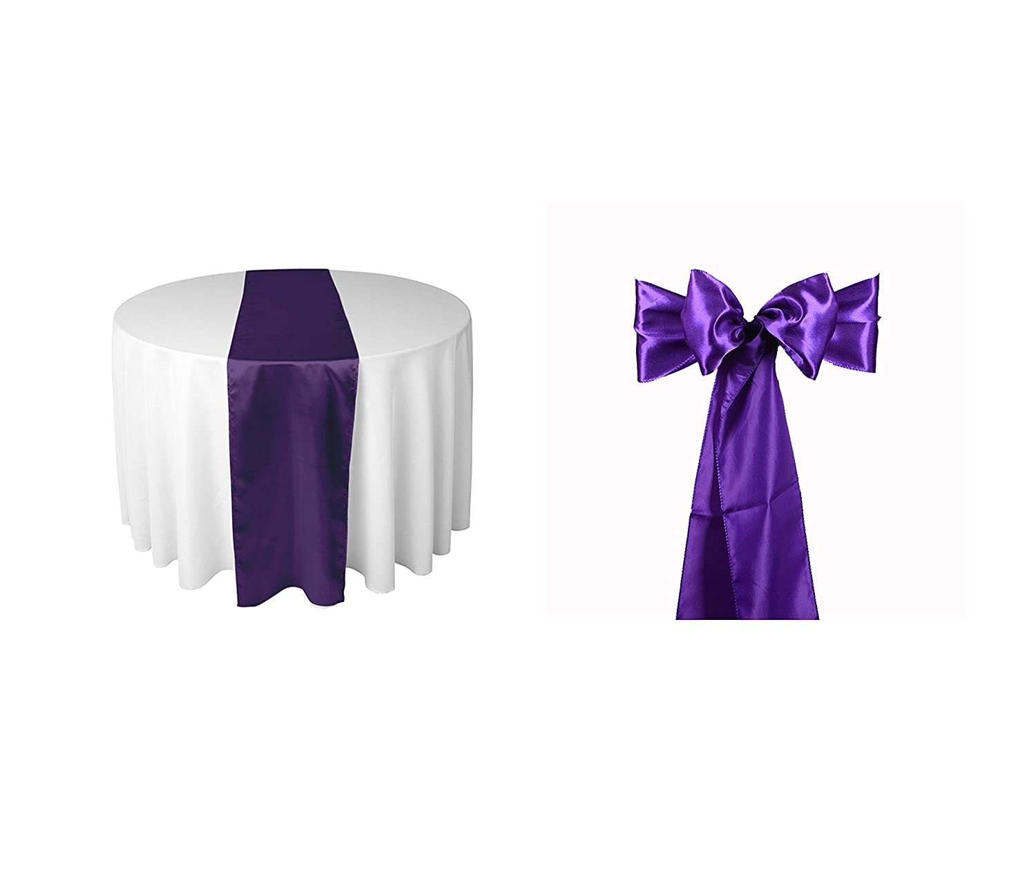 Elina Home Purple Satin 10 Table Runner & 50 Combo of TableRunner & Chair Bow Sash for Wedding Purple Purple
