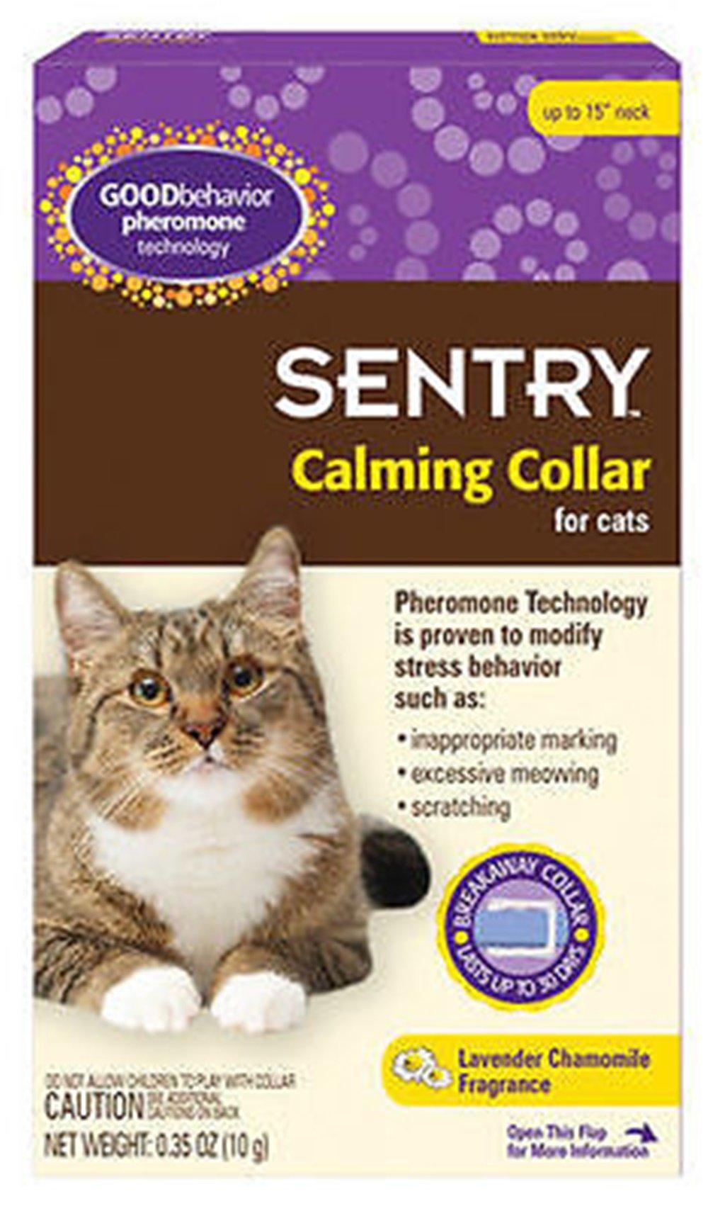Sentry Good Behavior Pheromone Calming Cat Collar Separation Anxiety Stress