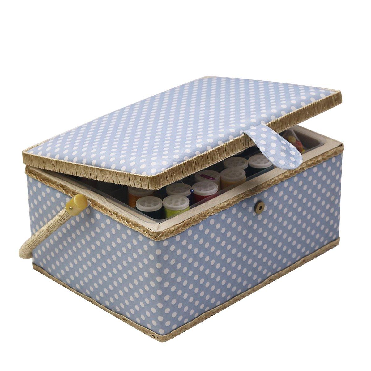 D&D Sewing Kit Basket for Storage & Organization - Yellow Polka Dot