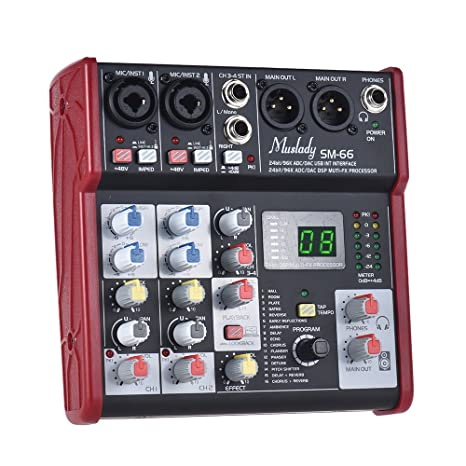 Muslady Mezcla de tarjeta de sonido Portátil Mezclador de ...