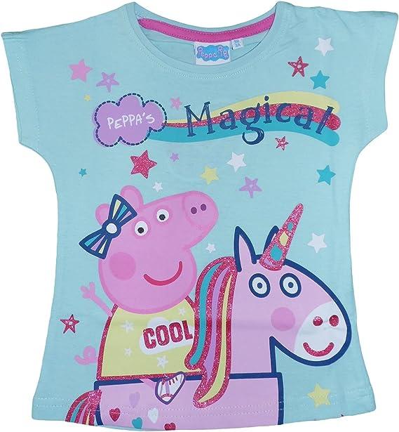 Peppa Pig Camiseta de Manga Corta - para Niña Multicolor Turquesa ...