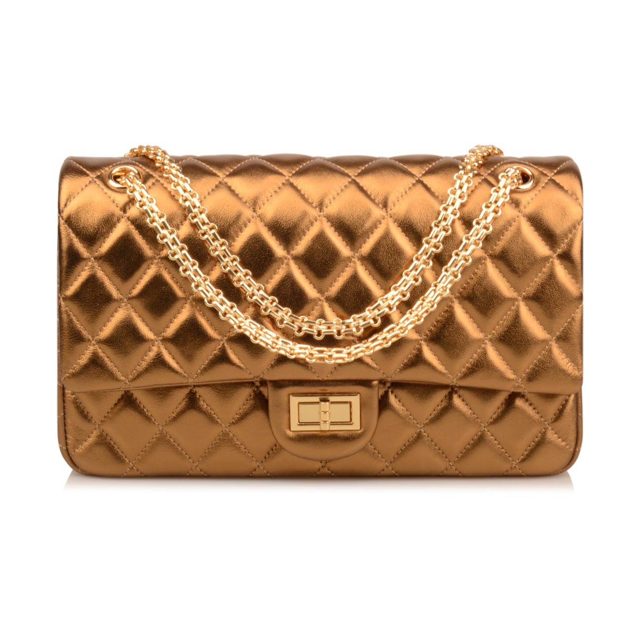 Ainifeel Women's Genuine Leather Quilted Chain Bag Hobo Bag Gold Hardware On (Large, P)
