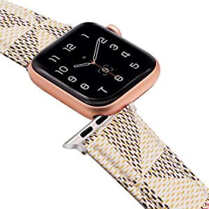 EurCross Sport Band Replacement Wrist Strap Compatible with iWatch Series 6/SE/5/4/3/2/1, Leather Band Replacement Compatible with Apple Watch Band 38mm 40mm 42mm 44mm
