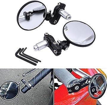 7//8 22mm Universal Motorcycle Convex Bar End Mirrors Handlebar Mirror 3 Aluminum fits Most Harley Davidsons Honda Scooter Suzuki Victory Yamaha
