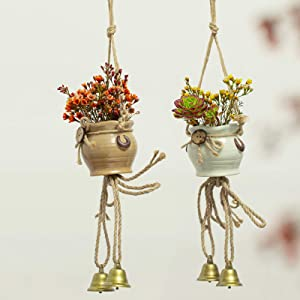 2 Pcs Ceramic Hanging Planter with Windchimes- Pink & White Succulent Plants Mini Ceramic Hanging Pots with Metal Bell for Home Balcony Terrace Garden Wall Ceiling Decor