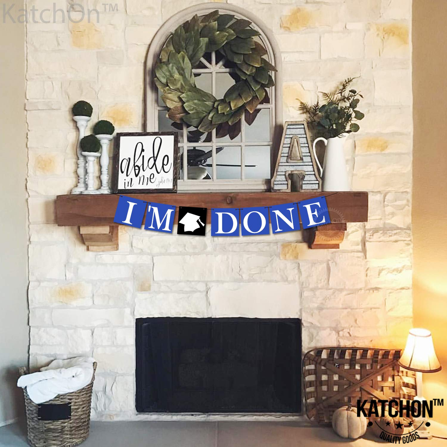 College Grad Party Graduation Decorations Blue Seniors No-DIY Required KatchOn Im Done Graduation Banner Blue Blue and White Graduation Party Supplies 2019 for Highschool Felt Banner Sign