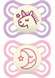 MAM Perfect Night 2 Piece Baby Pacifier, Girl, 0-6 Months