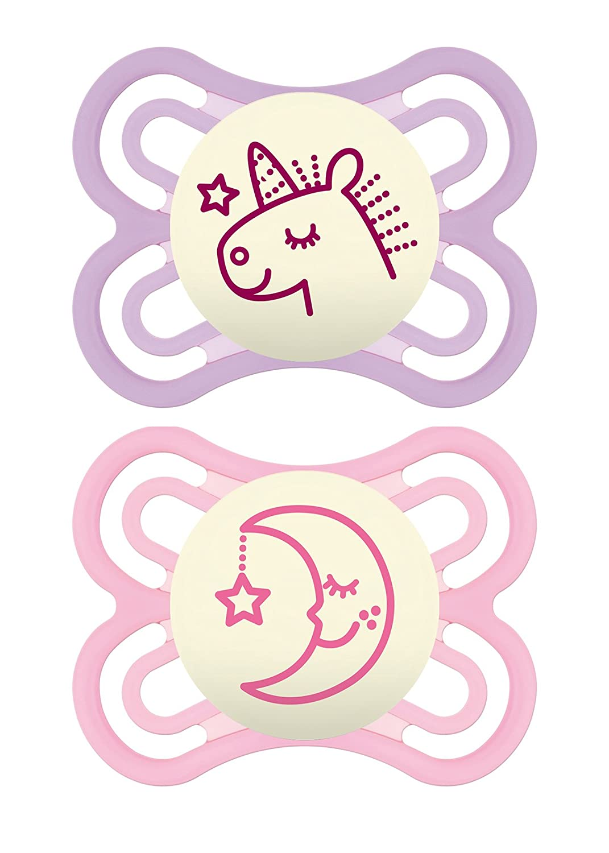 Amazon.com: MAM Perfect Night 2 Piece Baby Pacifier, Niña, 0 ...